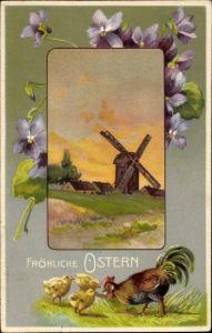 Präge Passepartout Ak Glückwunsch Ostern, Windmühle, Hahn, Küken