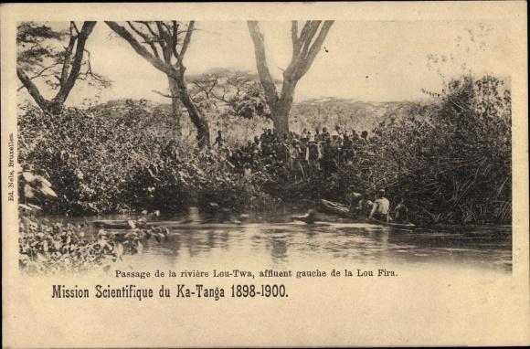 Ak Tansania, Passage de la riviere Lou Twa, affluent gauche de la Lou Fira, Mission du Ka Tanga 1898