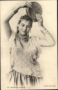 Ak Maghreb, Mauresque danseuse, Tänzerin, Tamburin