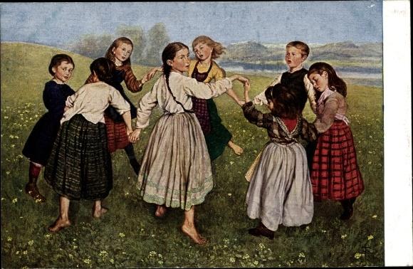 Künstler Ak Thoma, Hans, Kinderreigen, tanzende Kinder