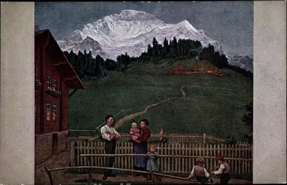 Künstler Ak Thoma, Hans, Abend in der Schweiz, Familie, Gebirge