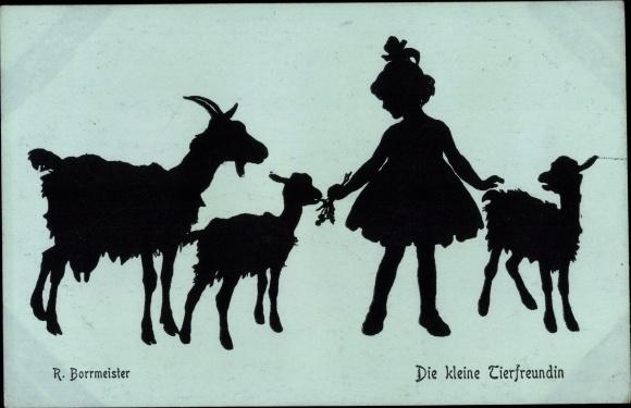 Scherenschnitt Ak Borrmeister, R., Die kleine Tierfreundin, Ziegen