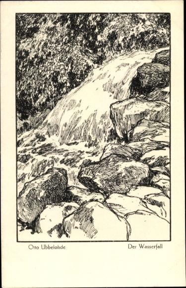 Künstler Ak Ubbelohde, Otto, Der Wasserfall