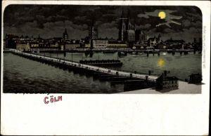 Mondschein Litho Köln am Rhein, Blick über den Rhein zur Stadt, Kölner Dom