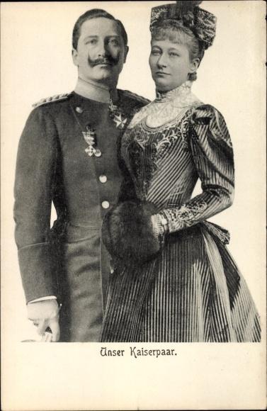 Ak Kaiserin Auguste Viktoria, Kaiser Wilhelm II. von Preußen, Portrait