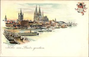 Künstler Litho Köln am Rhein, Stadtzentrum von Deutz gesehen, Schiffsbrücke, Dom, Wappen