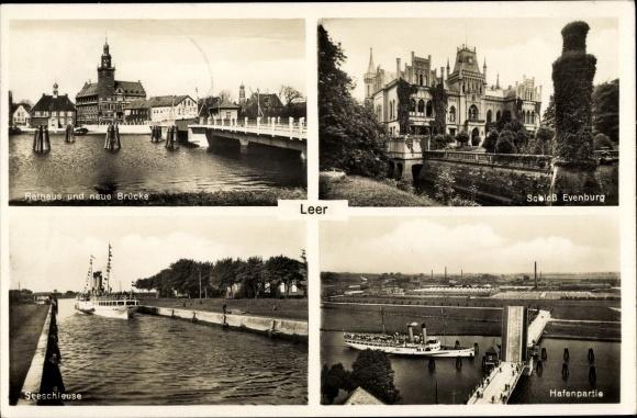 Ak Leer in Niedersachsen, Rathaus, Neue Brücke, Schloss Evenburg, Seeschleuse, Klappbrücke