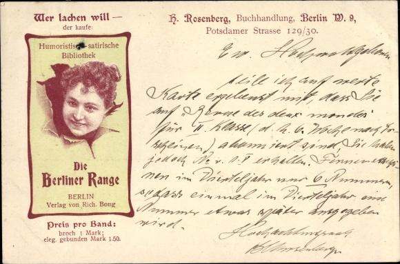 Litho Berlin Tiergarten, Die Berliner Range, Buchhandlung H. Rosenberg, Verlag Rich. Bong