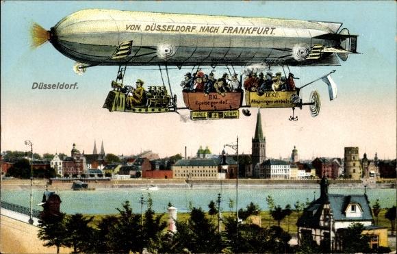 Ak Düsseldorf am Rhein, Rheinpartie mit Teilansicht von der Stadt, Zeppelin