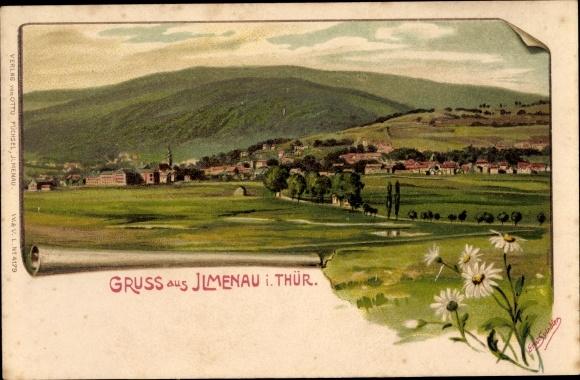 Künstler Litho Spindler, Erwin, Ilmenau in Thüringen, Panoramaansicht von Ort und Umgebung