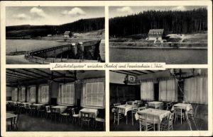Ak Frankenhain in Thüringen, Lütschetalsperre, Staumauer, Gasthaus, Restaurant