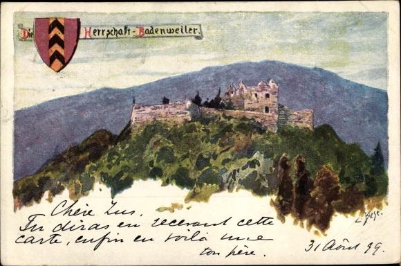 Künstler Ak Biese, C., Badenweiler im Kreis Breisgau Hochschwarzwald, Burgruine