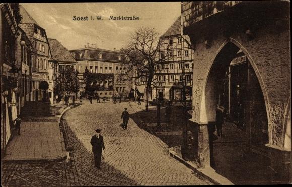 Ak Soest in Nordrhein Westfalen, Marktstraße, Straßenpartie