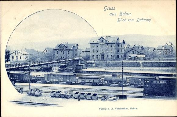 Ak Bebra an der Fulda in Hessen, Blick vom Bahnhof, Bahnstrecke, Güterwaggons