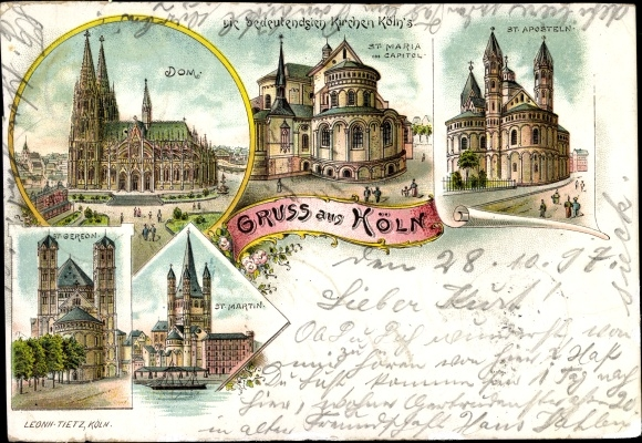 Litho Köln am Rhein, Dom, St. Maria im Capitol, St. Martin, St. Gereon, St. Aposteln