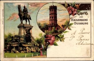 Künstler Litho Duisburg im Ruhrgebiet, Kaiser Wilhelm Denkmal, Wasserturm, Kaiserberg