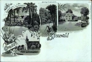 Mondschein Litho Burg im Spreewald, Gasthof, Mutnitza b. Forsthaus Eiche, Mühle, Kirche