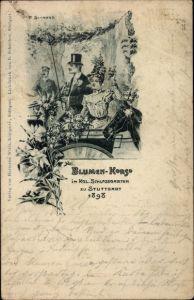 Litho Stuttgart in Baden Württemberg, Blumenkorso im Kgl. Schlossgarten 1898, Dame in Kutsche
