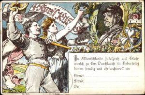 Künstler Litho Otto von Bismarck, Herzog zu Lauenburg, Bundeskanzler, 01. April 1815-1895