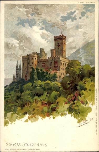 Künstler Litho Reiss, Fritz, Stolzenfels Koblenz in Rheinland Pfalz, Blick auf das Schloss