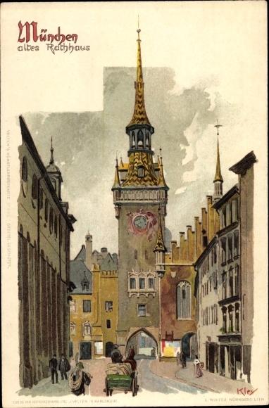 Künstler Litho Kley, Heinrich, München Bayern, Altes Rathaus, Straßenansicht