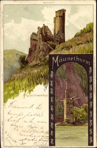 Künstler Litho Biese, C., Bingerbrück Bingen am Rhein, Ruine Ehrenfels, Mäuseturm