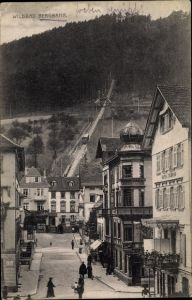 Ak Bad Wildbad im Kreis Calw Baden Württemberg, Bergbahn, Hotel Schmid, Restaurant zum Adler