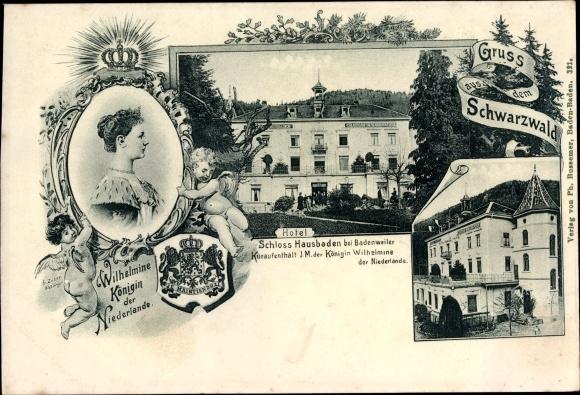 Ak Badenweiler im Kreis Breisgau Hochschwarzwald, Königin Wilhelmina der Niederlande, Schloss