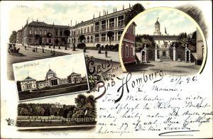 Litho Bad Homburg vor der Höhe, Kaiser Wilhelm Bad, Lawn Tennis Platz, Kurhaus, Schlossportal