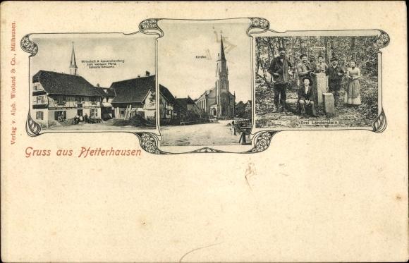 Ak Pfetterhouse Pfetterhausen Elsass Haut Rhin, Wirtschaft von Célestin Schwartz, Drei Länder Stein