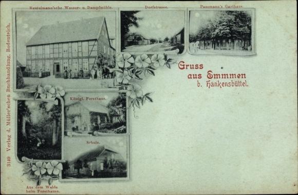 Mondschein Ak Emmen Hankensbüttel Niedersachsen, Reutelmann'sche Wassermühle, Pasemann's Gasthaus