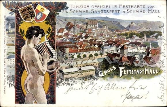 Künstler Litho Fuchs, Karl, Schwäbisch Hall Baden Württemberg, 26. Schwäb. Sängerfest 1901, Wappen