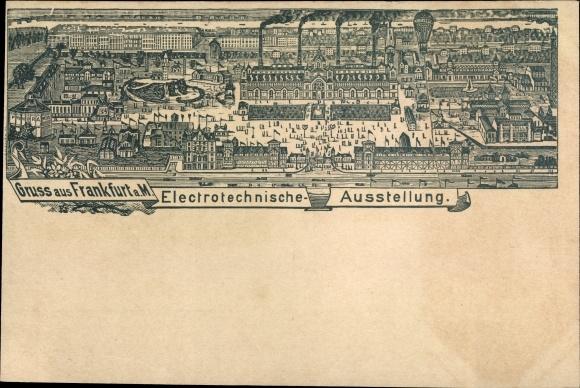 Litho Frankfurt am Main, Elektrotechnische Ausstellung, Ausstellungsgelände, Fesselballon, Panorama