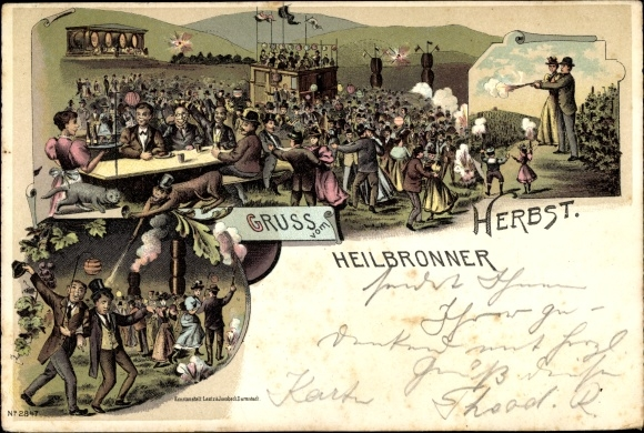 Litho Heilbronn in Baden Württemberg, Volksfest Heilbronner Herbst, Laternen, Feuerwerk, Affe