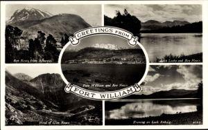 Ak Fort William Schottland, total view, Ben Nevis from Banavie, Loch Lochy, Evening on Loch Arkaig