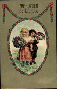 Präge Passepartout Ak Glückwunsch Ostern, Kinder, Blumensträuße