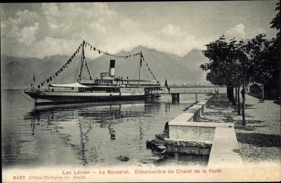 Ak Le Bouveret Port Valais Kt. Wallis Schweiz, Debarcadere du Chalet de la Foret sur le Lac Leman