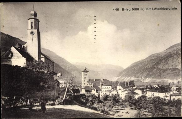 Ak Brig Glis Kt. Wallis Schweiz, Panorama vom Ort und Lötschberglinie