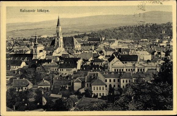 Ak Cluj Napoca Rumänien, Blick über die Dächer der Stadt