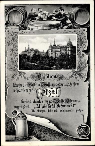 Passepartout Ak Plzeň Pilsen Stadt, Schloss, Bierrunde, Anstoßen, Bierfässer, Maßkrug