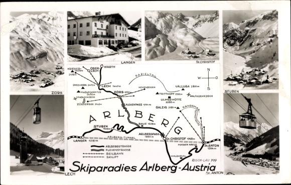 Landkarten Ak Arlberg Vorarlberg, Lech, Zors, Stuben, Langen, St. Anton