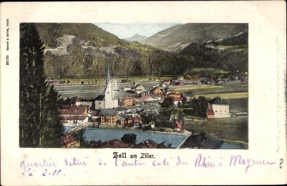 Ak Zell am Ziller in Tirol, Blick auf den Ort, Kirche