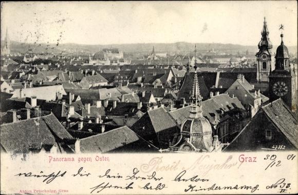 Ak Graz Steiermark, Panorama gegen Osten, Dom, Dächer