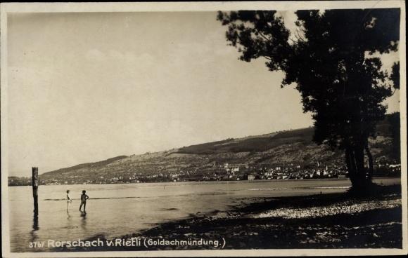 Ak Rorschach Kt. St. Gallen Schweiz, Goldachmündung, Ort vom Rietli aus