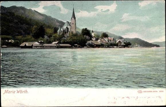 Ak Maria Wörth in Kärnten, Ort, Kirche, Wörthersee