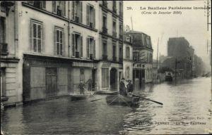 Ak Levallois Perret Hauts de Seine, La Rue Fazilleau, Hochwasser 1910