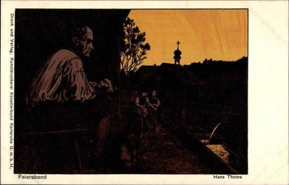 Künstler Ak Thoma, Hans, Feierabend, Mann schaut dem Sonnenuntergang zu