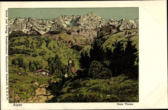 Künstler Ak Thoma, Hans, Alpen, Landschaft, Gebirge
