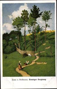 Künstler Ak von Volkmann, Hans, Sonniger Berghang