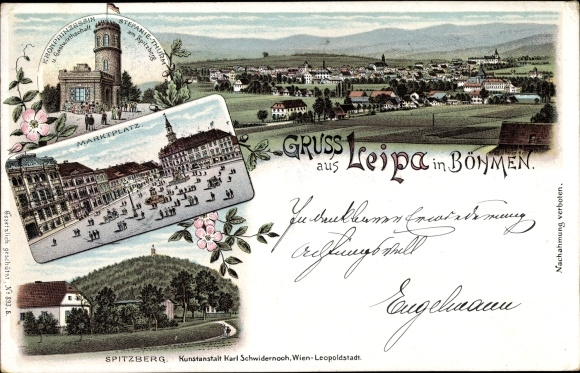 Litho Česká Lípa Böhmisch Leipa Reg. Reichenberg, Marktplatz, Kronprinzessin Stefanie Turm, Totale